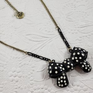 Betsey Johnson black bow with white polka dots nec